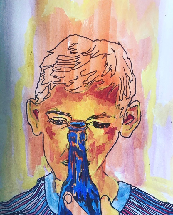 Grant with his Nose Down a Bottle    9 x 12 in   Gauche and pen