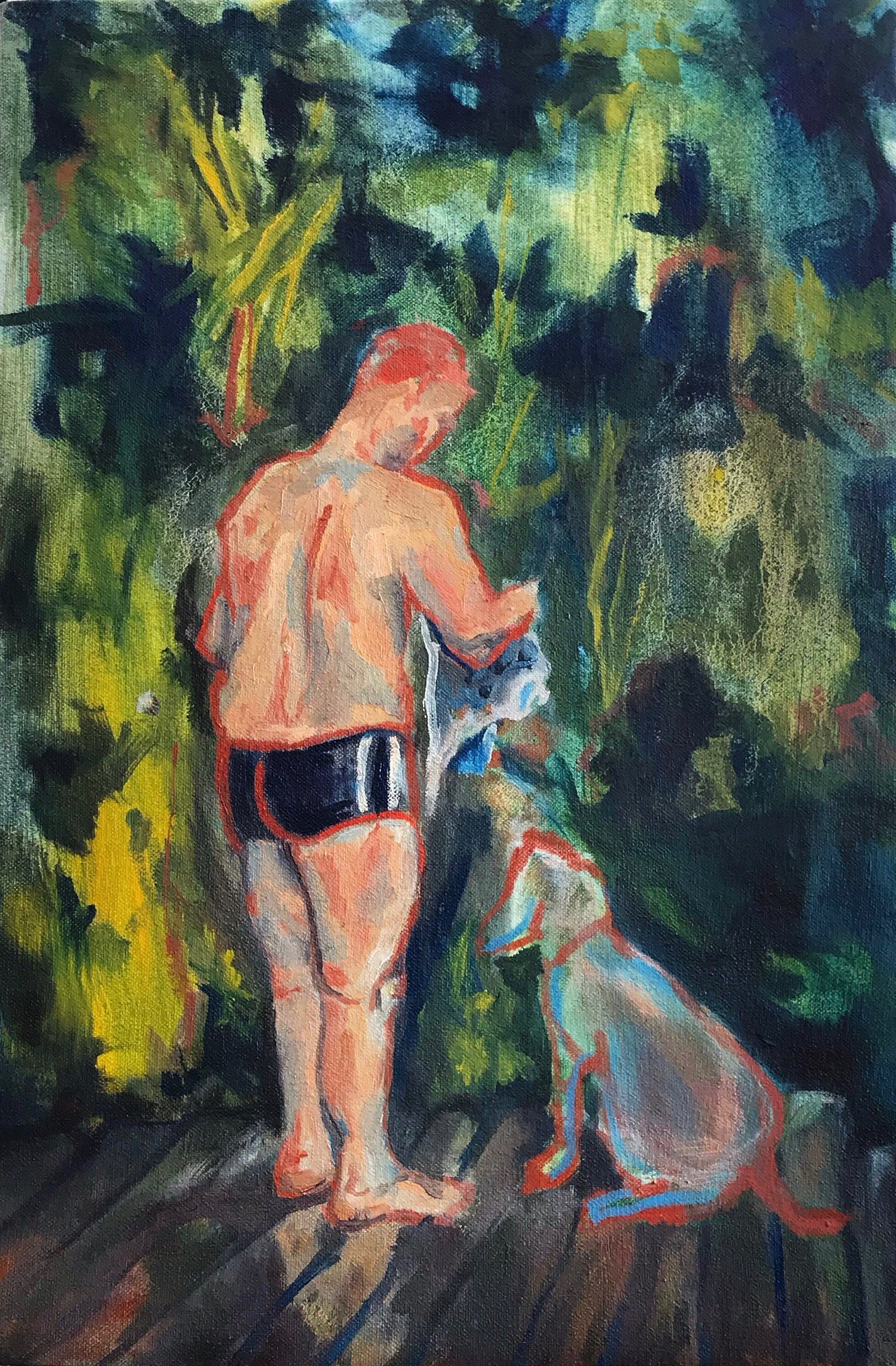 Slovenian Man and Dog   10 x 17 in  oil on canvas