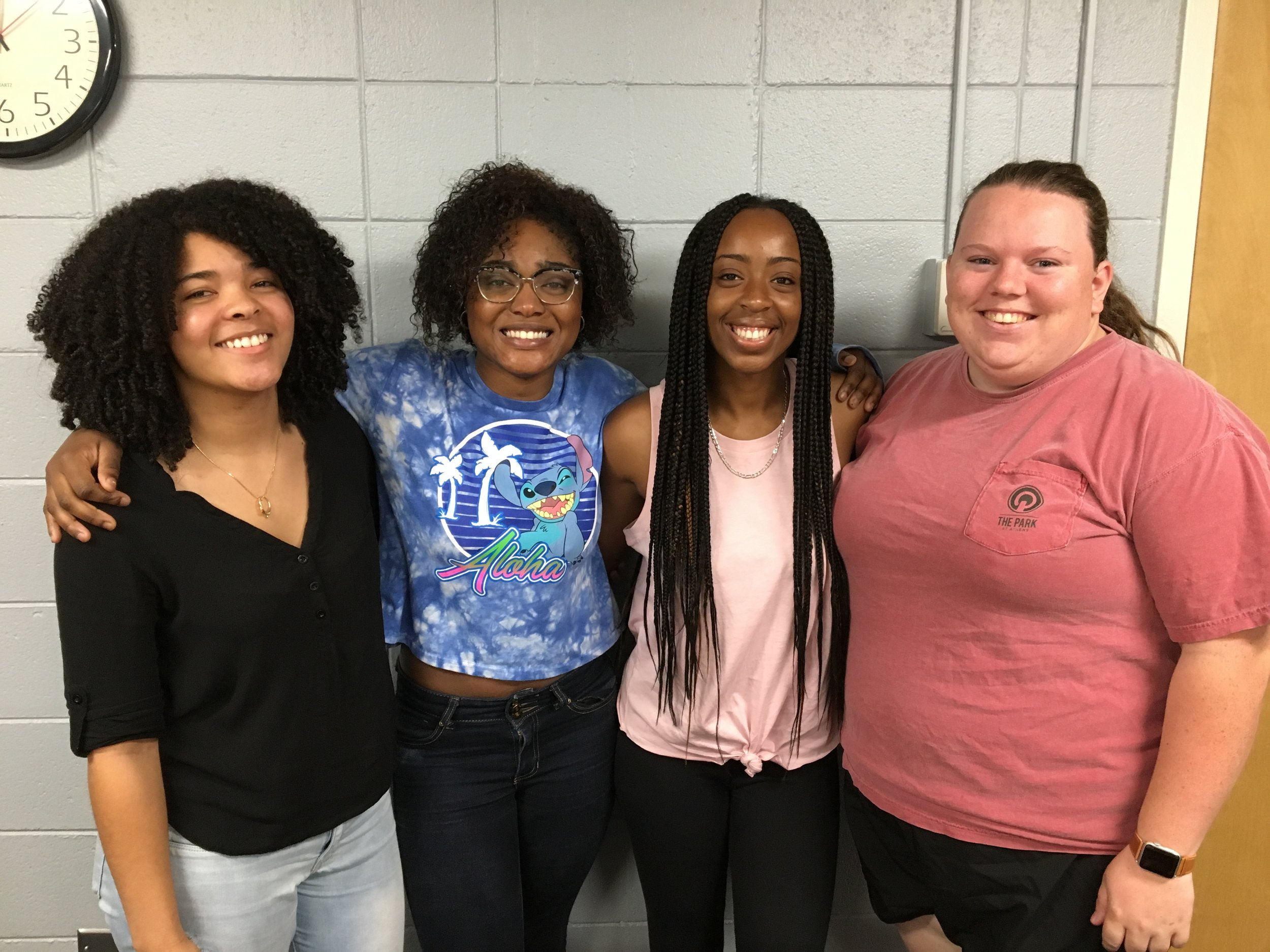 Jada, Princess, Alicia, and Lauren - Still smiling after their research presentations at lab meeting!