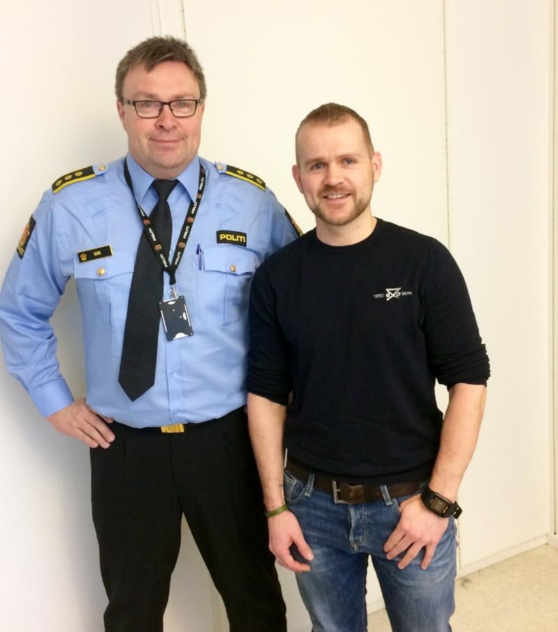 Fungerende lensmann Arne Henrik Ulvin og daglig leder i Trygg-Grunn Per-Erik Daviknes