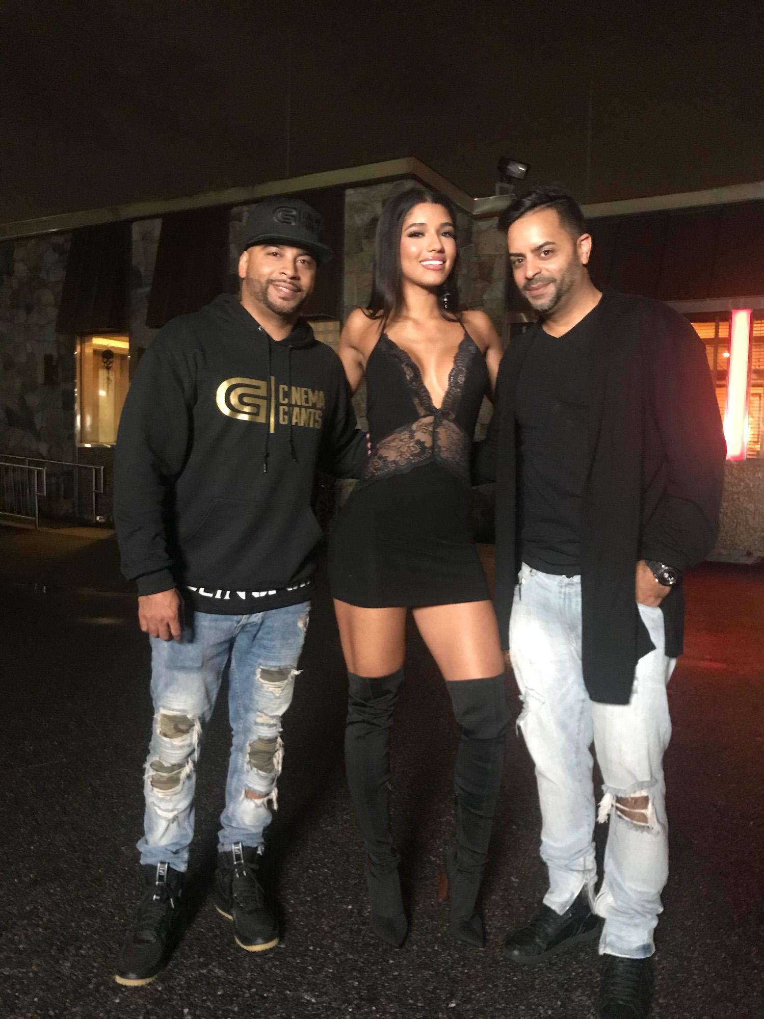 Yovanna Ventura, Jessy Terrero and Ulysses Terrero on set of Bella y Sensual music video shot in New York City