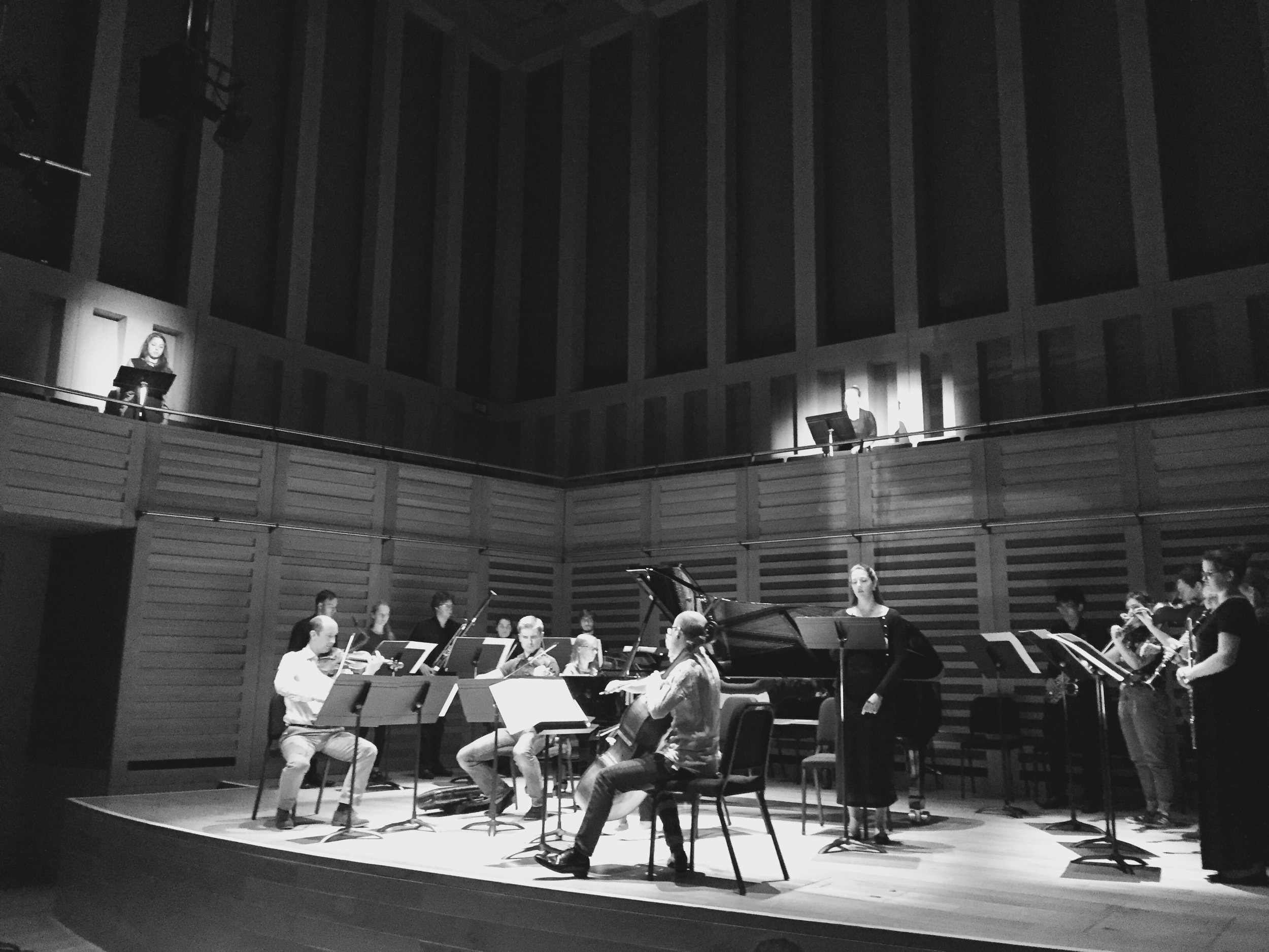 Mary Dullea ,  Tippett Quartet  and musicians of Royal Holloway University of London rehearsing two national anthems: it's not working at Kings Place, London (UK); 7 June 2017