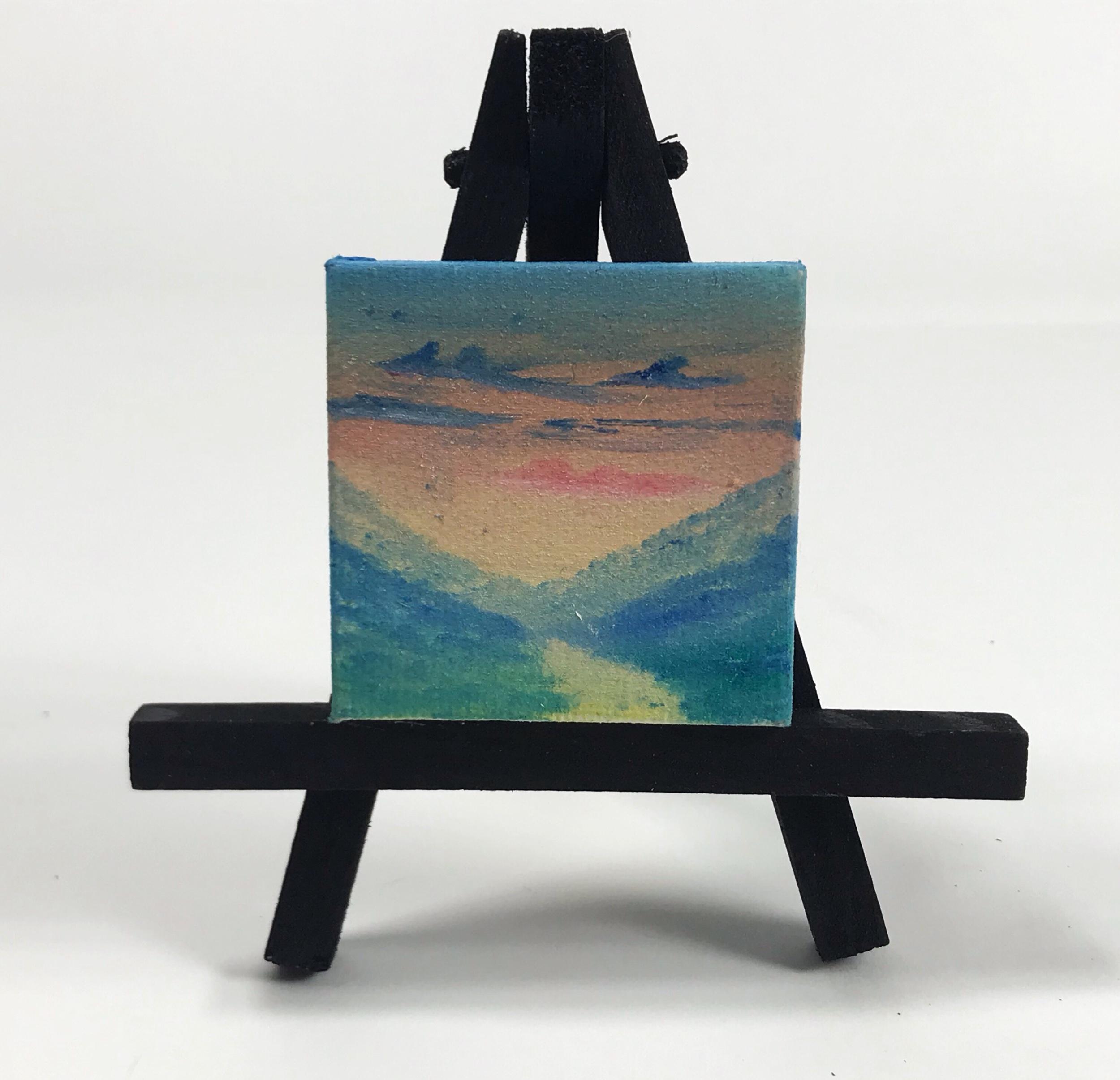 "Yellow lake - 2""x2"" Mini Painting"