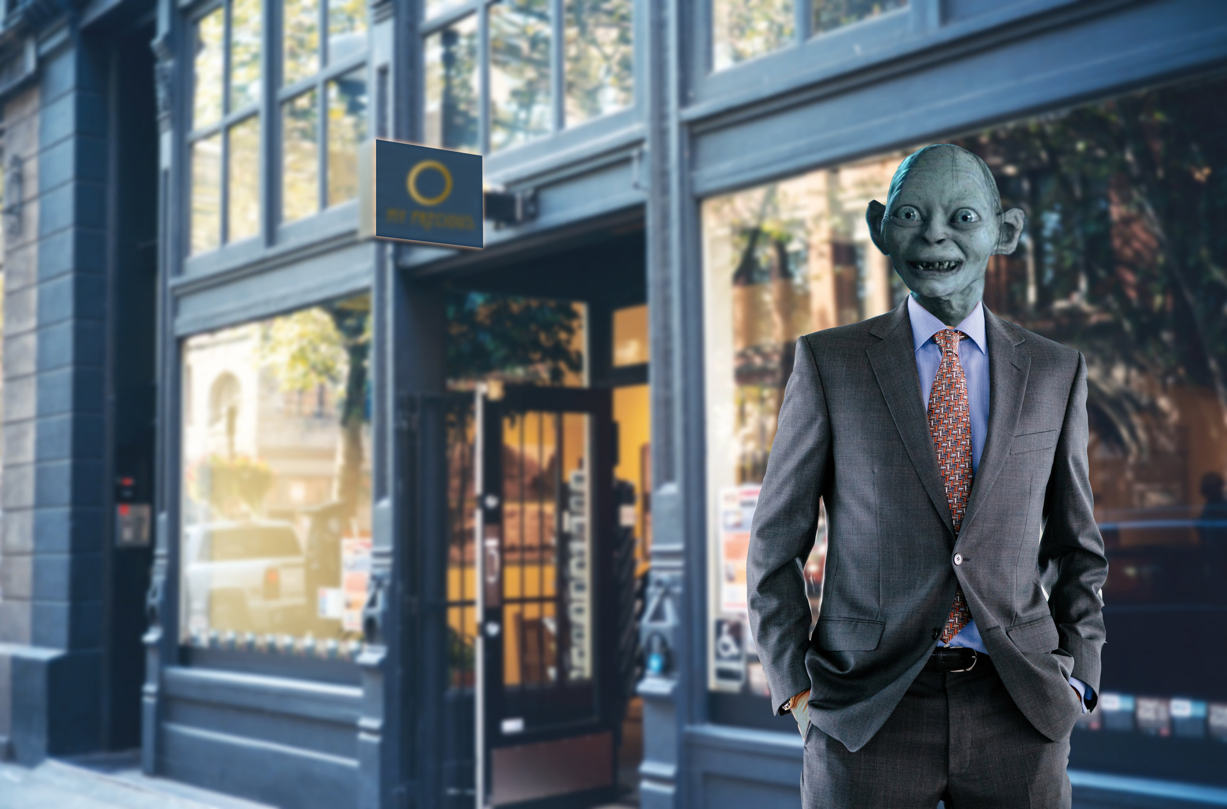 Gollum in front of his new ring shop.