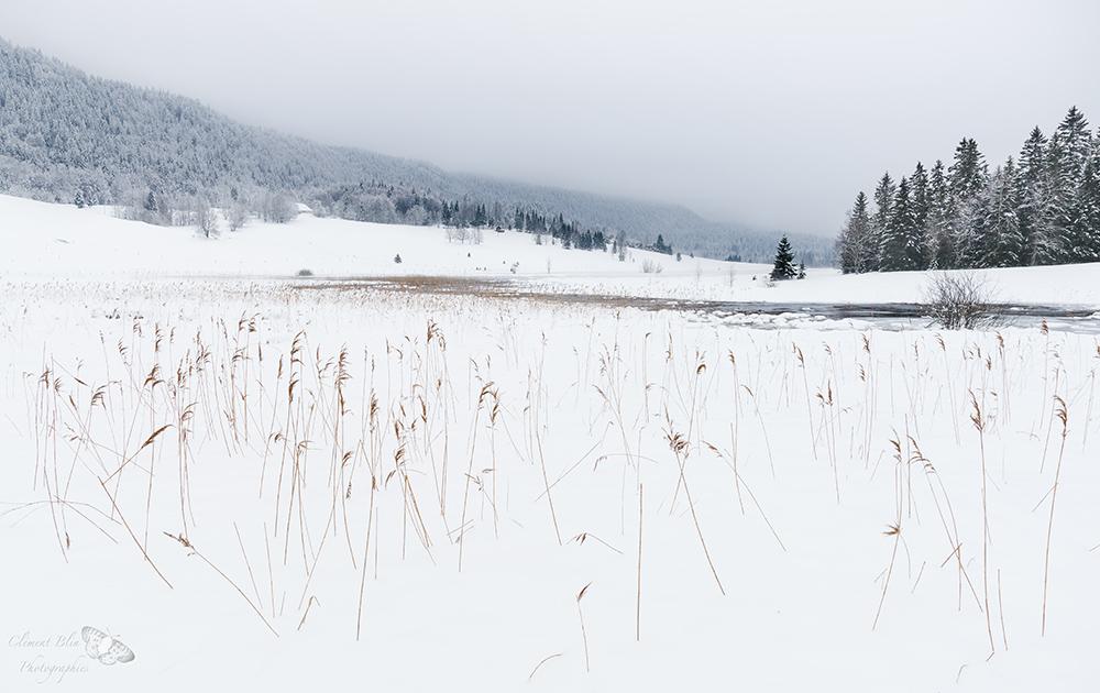 Lac de Bellefontaine sous la neige.