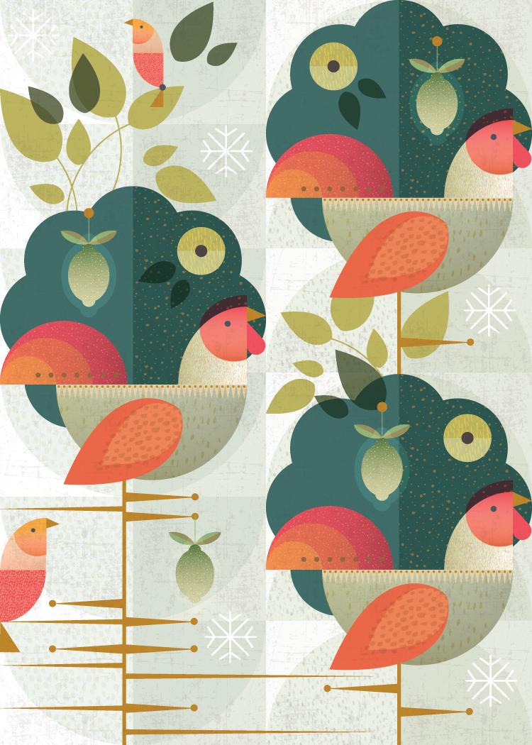 Three french hens:  Grandma's Christmas Birds