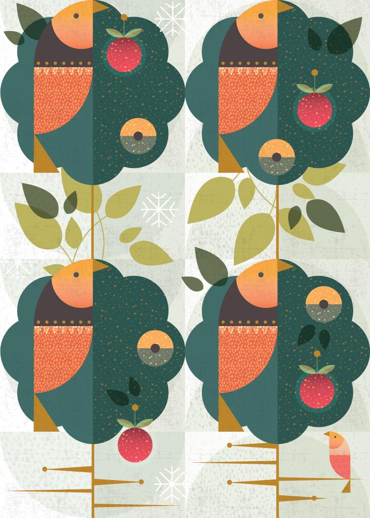 Four calling birds:  Grandma's Christmas Birds