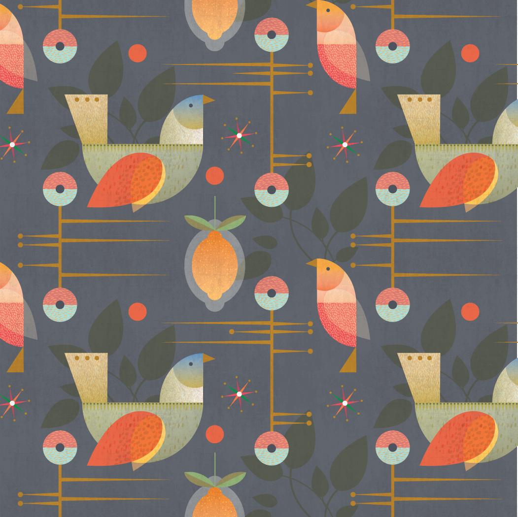 Holiday splendor (in midnight):  Grandma's Christmas Birds