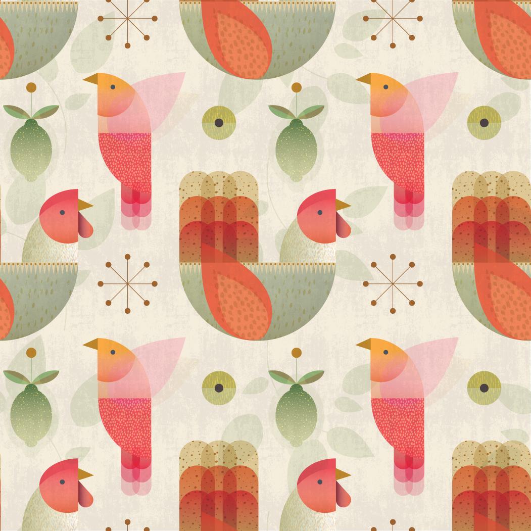 Holiday splendor (in cream):  Grandma's Christmas Birds