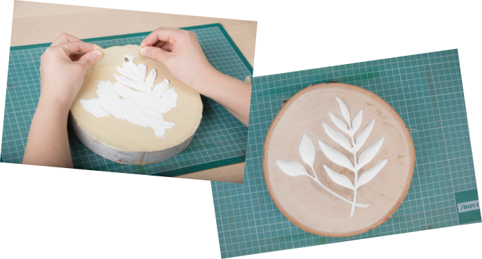 Tommy Art faux wood relief project using Neutral Gesso and Mineral Paint