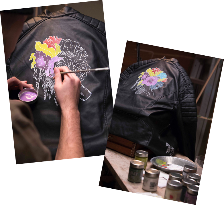 Tommy Art painted leather jacket tutorial using Mineral Paint