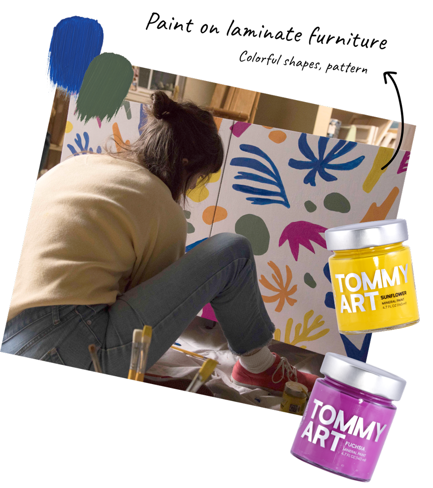 Tommy Art project - mineral paint and laminate furniture