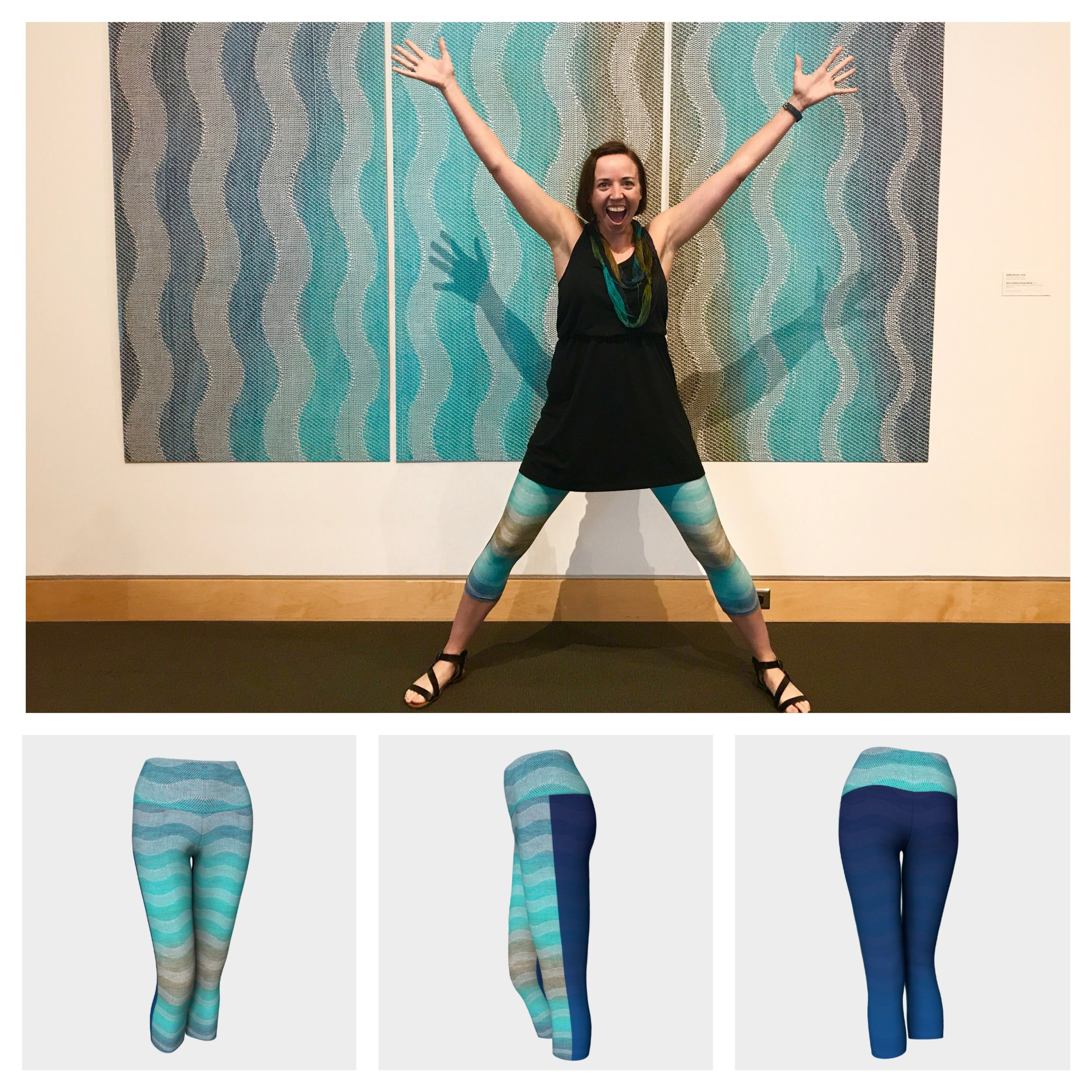 """""""Friends, when I wore my first pair of these yoga capris, I danced around with joy (literally, you can ask my husband and daughters.;) because I was so excited to see my woven textile print on a pair of yoga pants. The print and color turned out amazing. Additionally, they are so comfortable to wear around and its color doesn't fade in the wash. (Hurray!!) I love my pair and hope you will love yours too! Thanks for your support!!""""-Debbie"""