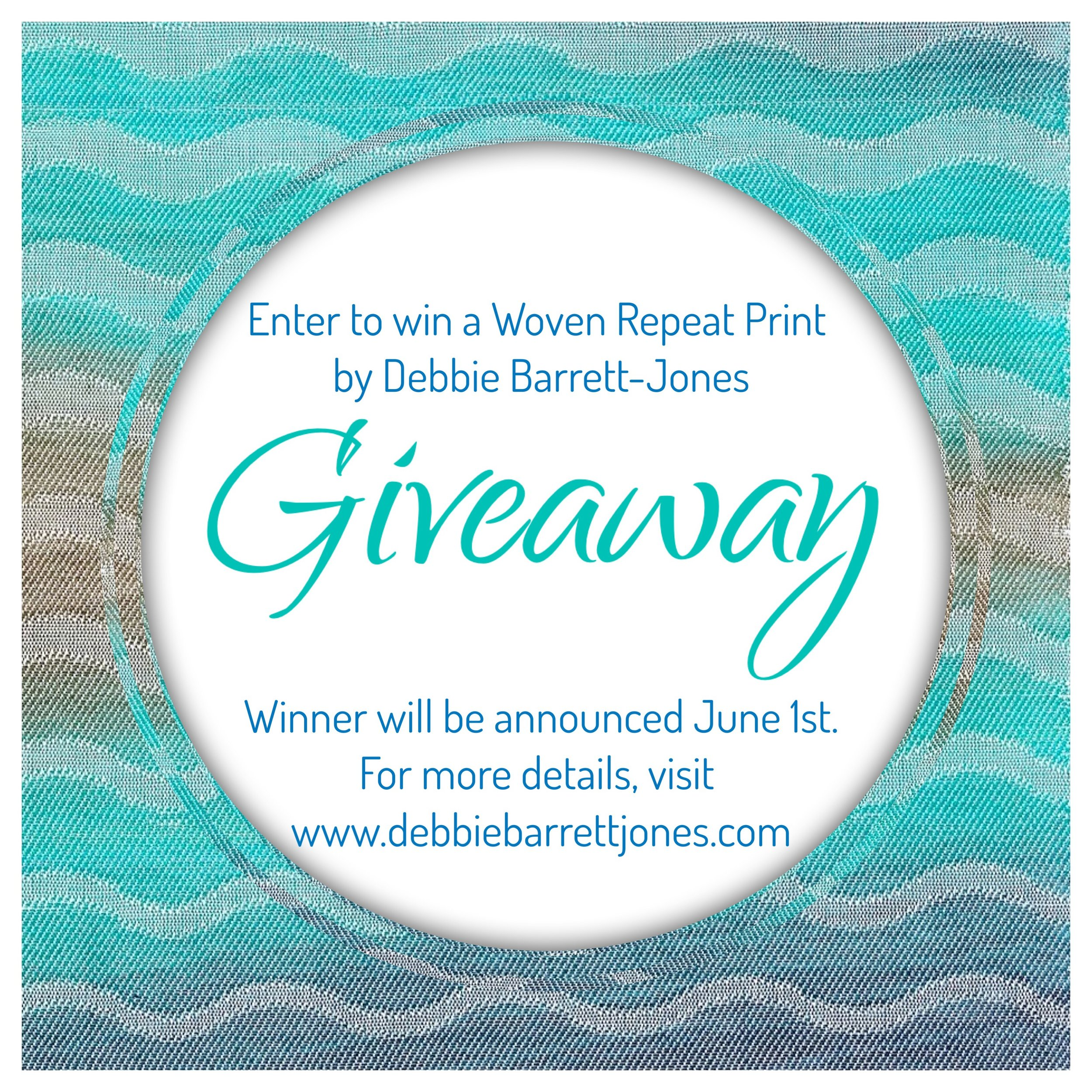 """Enter to Win A Woven Repeat Print by Debbie Barrett-Jones   Let """" Navy to Aqua to Brown Waves""""  11x14 inch Woven Repeat Print by Debbie Barrett-Jones be your new piece of artwork.  Here's four ways how you enter the Woven Repeat Free Giveaway, each giving you a chance to win;  1. Subscribe to Woven Repeat by going to either  www.debbiebarrettjones.com  or  www.wovenrepeat.com . Look for the Pop-Up Subscribe Button or  email  us to subscribe.    2. Follow Woven Repeat on  Instagram  and repost or share the Woven Repeat Giveaway Post. Make sure to tag  Woven Repeat  in your post.    3. Follow Debbie Barrett-Jones Textiles on  Facebook  and share the Woven Repeat Giveaway Post and tag  Debbie Barrett-Jones Textiles .    4. Go to  Woven Repeat Online  and share on Instagram or Facebook your favorite Woven Repeat Creation.  Last day to enter the Woven Repeat Giveaway is Friday May 31st at 11:59pm.  Winner will be announced and contacted on Saturday June 1st.  Thank you and good luck!!"""