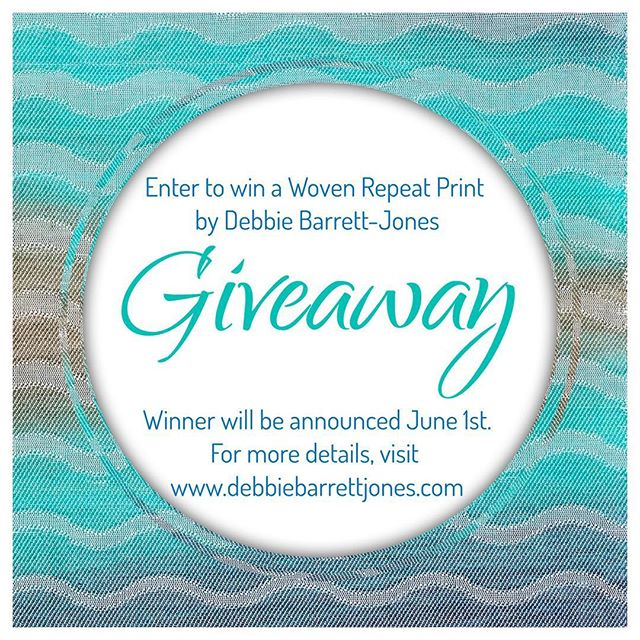 """Let """"Navy to Aqua to Brown Waves"""" Woven Repeat Print by Debbie Barrett-Jones be your new piece of artwork. You have up to four chance to win. To this Woven Repeat Giveaway, just go to either www.WovenRepeat.com or www.DebbieBarrettJones.com. Winner will be announced on June 1, 2019. Thank you and Good Luck!!"""