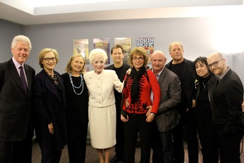ANN  backstage visit at Lincoln Center (Bill Clinton, Meryl Streep, Hillary Clinton, Holland Taylor, Kevin Bailey, Gabby Giffords, Mark Kelly, Don Gummer, Harriet Leve, and Benjamin Ensley Klein