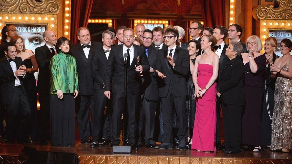 Producers of  Hedwig and the Angry Inch  accepting the 2014 Tony Award for Best Musical Revival (left of center is Harriet Leve and far right is Jennifer Isaacson)