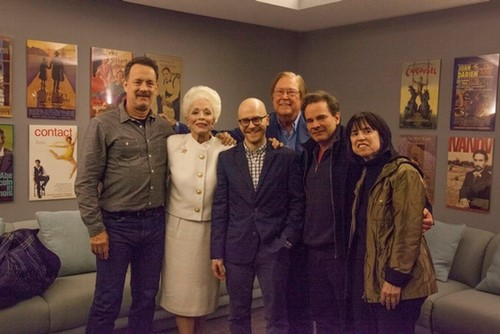 ANN  backstage visit at Lincoln Center (Tom Hanks, Holland Taylor, Benjamin Ensley Klein, Bob Boyett, and Harriet Leve)