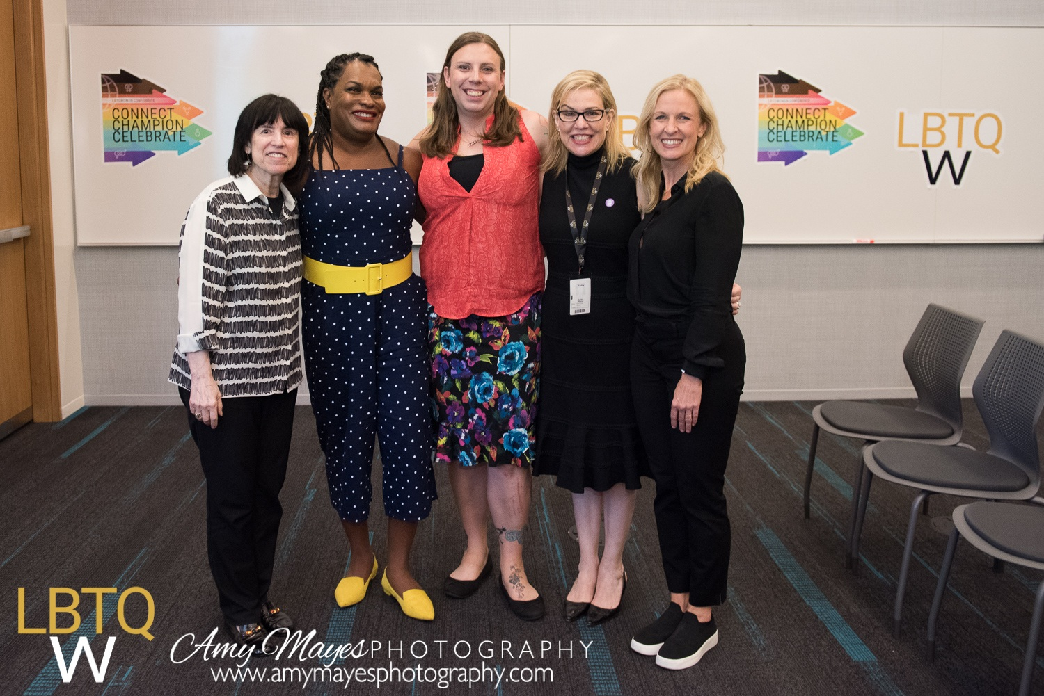 Speakers at the 2019 LBTQ Women Conference on June 26, 2019 in the panel:  LBTQ Women in the Media: Storytelling as a Tool for Visibility and Change  (from left: Imara Jones, Patricia King, Debbie Millman, and Jennifer Brown)