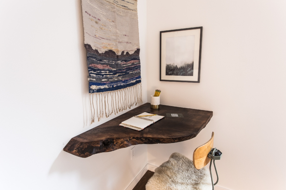 Live edge custom corner desk by PDX Woodcraft.