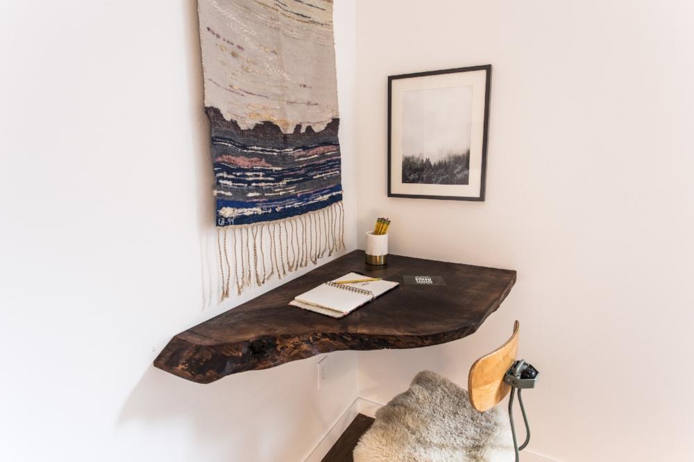Live edge custom corner desk by PDX Woodcraft.