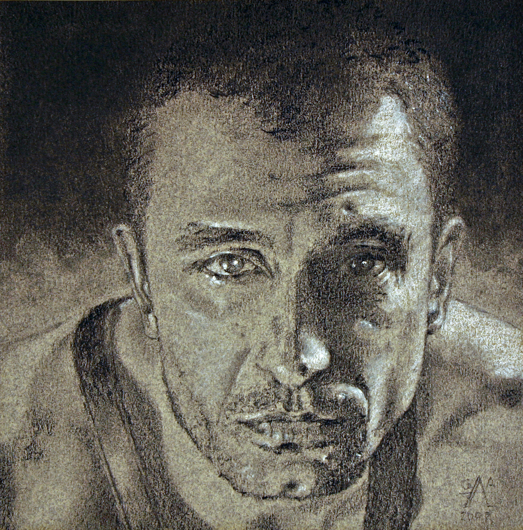 Marcelo Graphite on Paper 5.5x5.5  SOLD