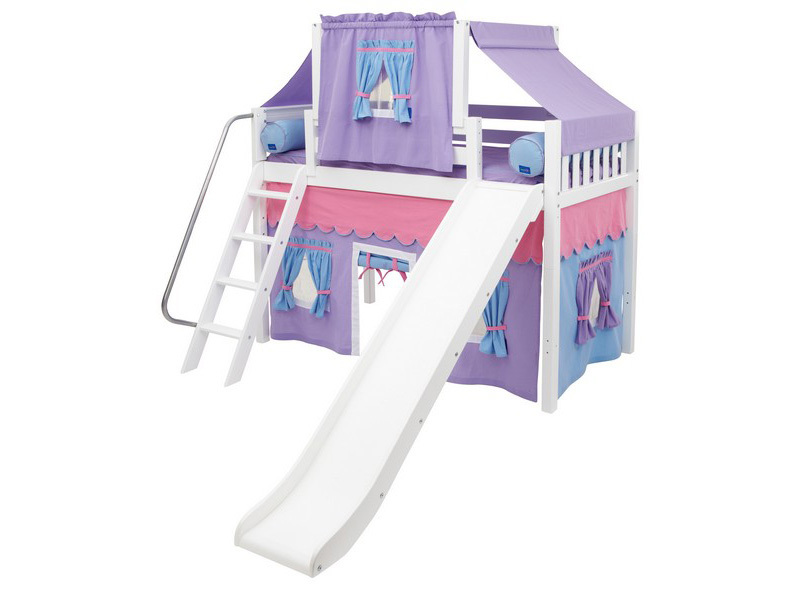 Mid Loft Panel Bed w: Angle Ladder, Slide, Top Tent & Curtains 6.jpg