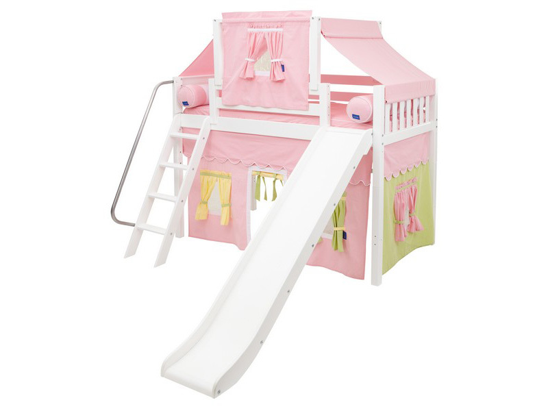 Mid Loft Panel Bed w: Angle Ladder, Slide, Top Tent & Curtains 5.jpg