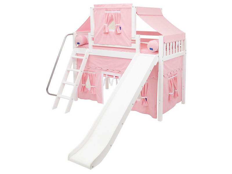 Mid Loft Panel Bed w: Angle Ladder, Slide, Top Tent & Curtains 4.jpg