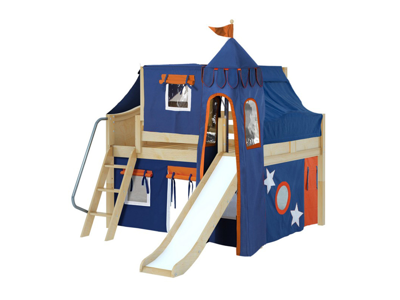 Low Loft Bed w: Angle Ladder, Slide, Tower, Top Tent & Curtain .jpg