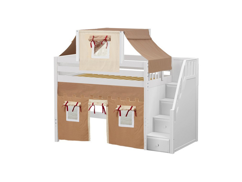 Mid Loft Bed w: Staircase, Top Tent & Underbed Curtains (White) .jpg