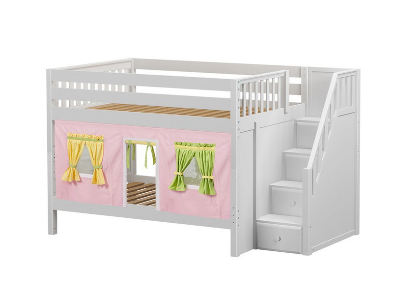 Low Bunk Bed with Staircase on End & Curtain (White) .jpg