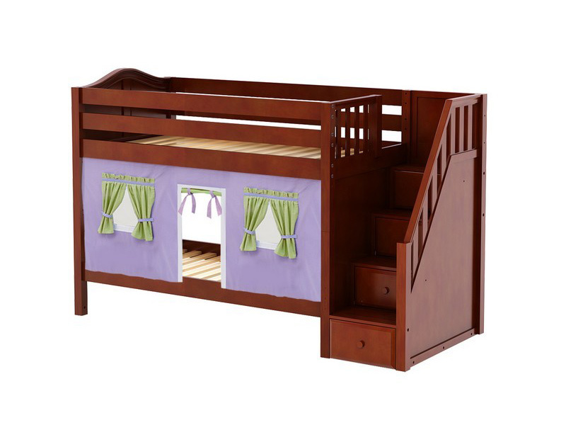 Low Bunk Bed with Staircase on End & Curtain (Chestnut) .jpg