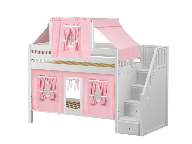 Low Bunk Bed with Staircase on End, Top Tent & Curtain (White) .jpg
