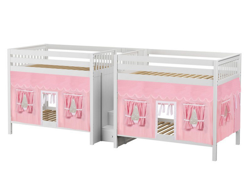 Quad High Bunk Bed w: Stairs & Underbed Curtains (Natural) 4.jpg