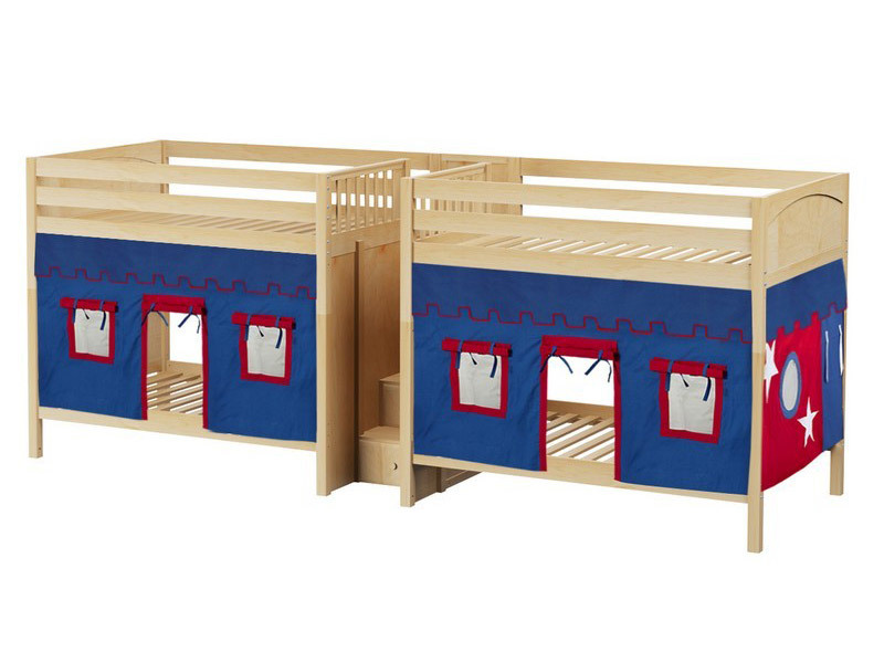 Quad High Bunk Bed w: Stairs & Underbed Curtains (Natural) 3.jpg