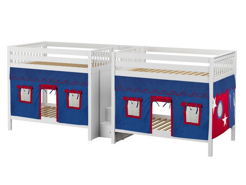 Quad High Bunk Bed w: Stairs & Underbed Curtains (Natural) 1.jpg