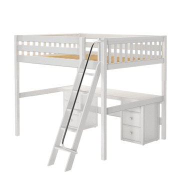 Queen High Loft Bed with Angled Ladder + Desk