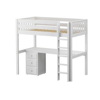 Twin High Loft Bed with Straight Ladder + Desk