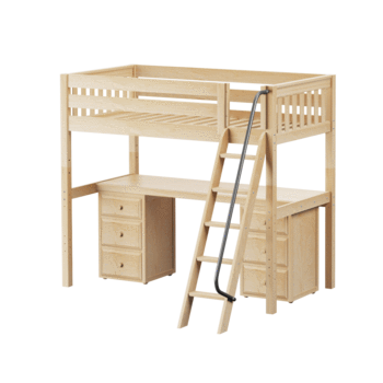 Twin XL High Loft Bed with Angle Ladder + Desk