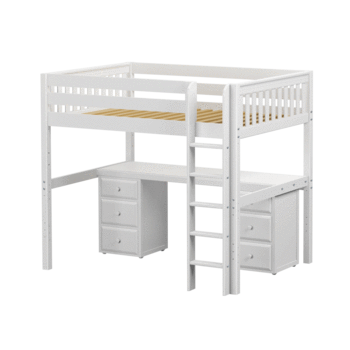 Full XL High Loft Bed with Straight Ladder + Desk