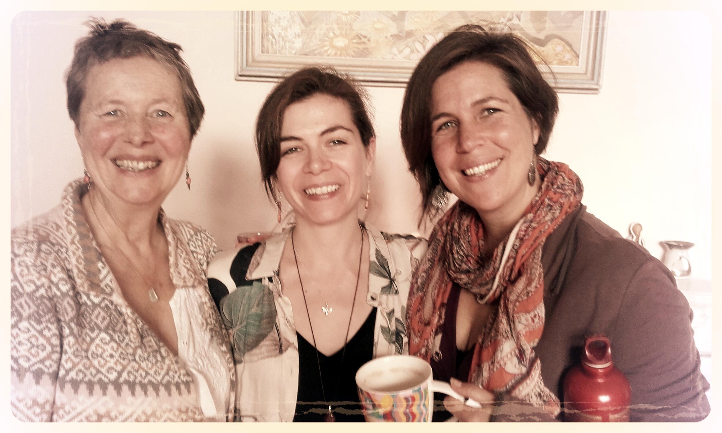 Alexandra Pope, Lisa de Jong and Sjanie Hugo Wurlitzer at the Women's Quest Apprenticeship, Stroud, 2017
