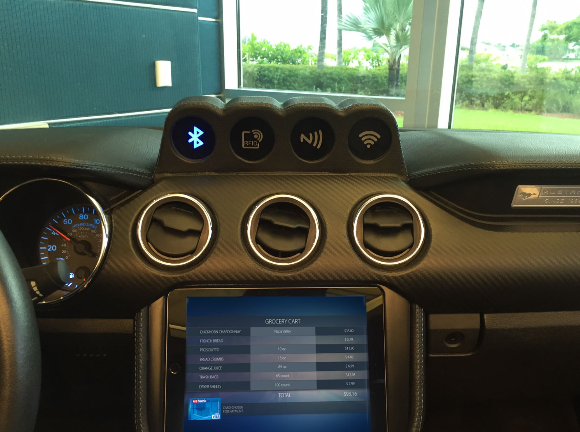 Our connected experiments demonstrate in-car cockpit commerce that allow vehicles to authenticate transactions through direct interaction with toll booths, parking meters, restaurants, etc.
