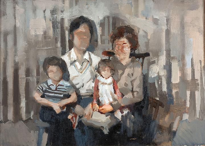 """"""" Family, 1983 """", oil on panel, 12x18, 2015"""