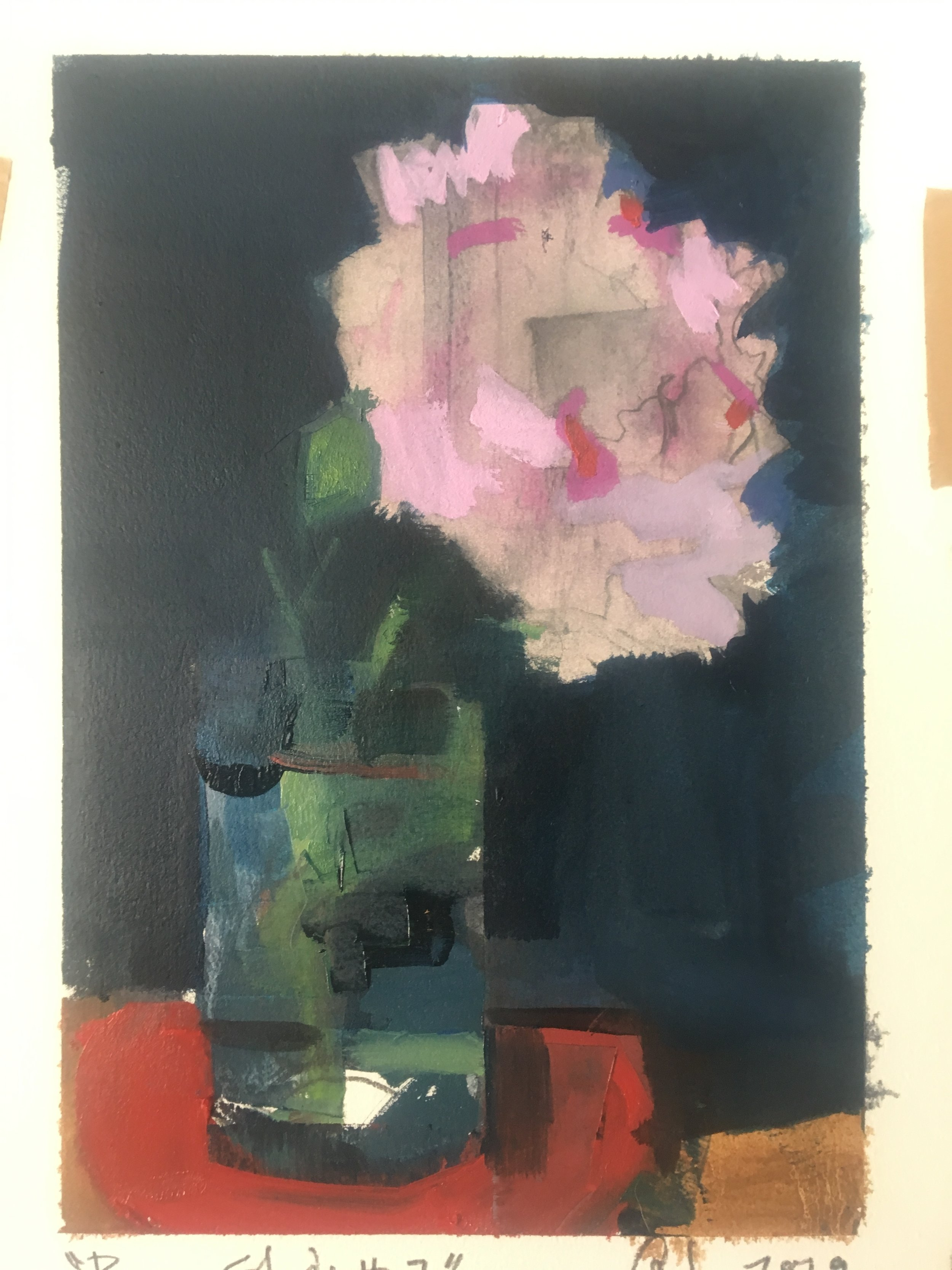 peony study #7, oil on paper, 9x12, 2019, SOLD