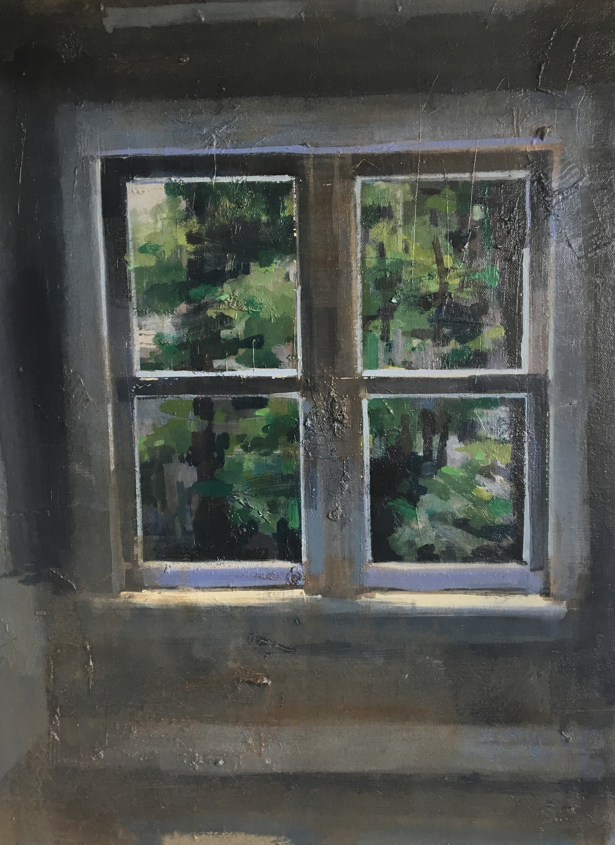 """Midsummer Sun in an Empty Room"" #4b, oil on canvas, 18x24, 2016-2018,  available"