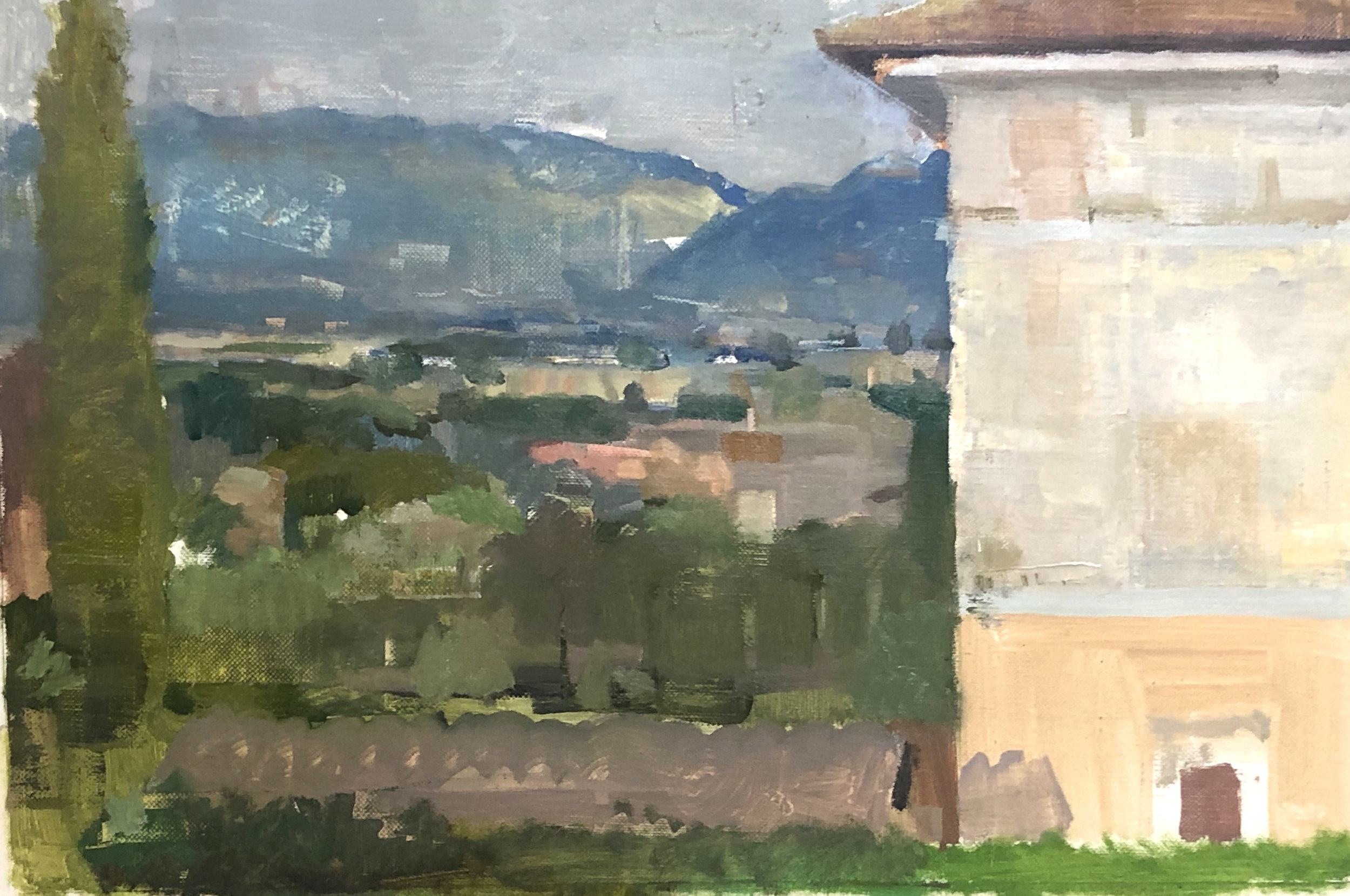 """Villa Bianca from IH's Terrace"", oil on linen, 2019"