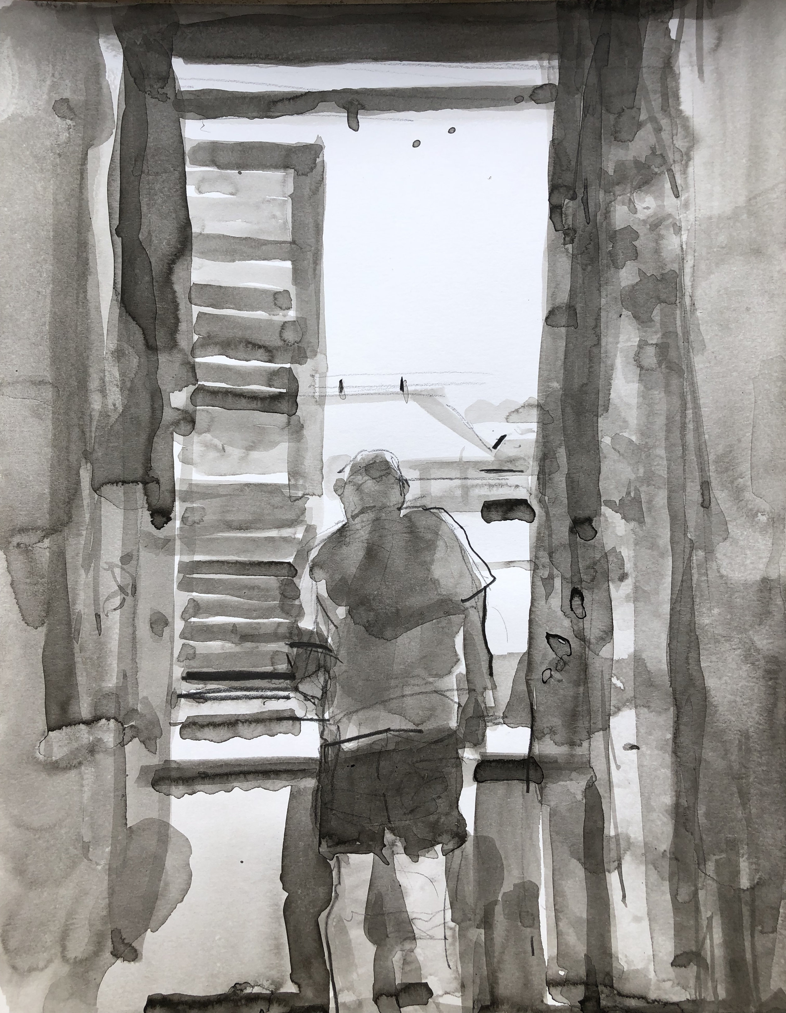 """KW drawing at the Palazzo Window"", ink wash on bristol"