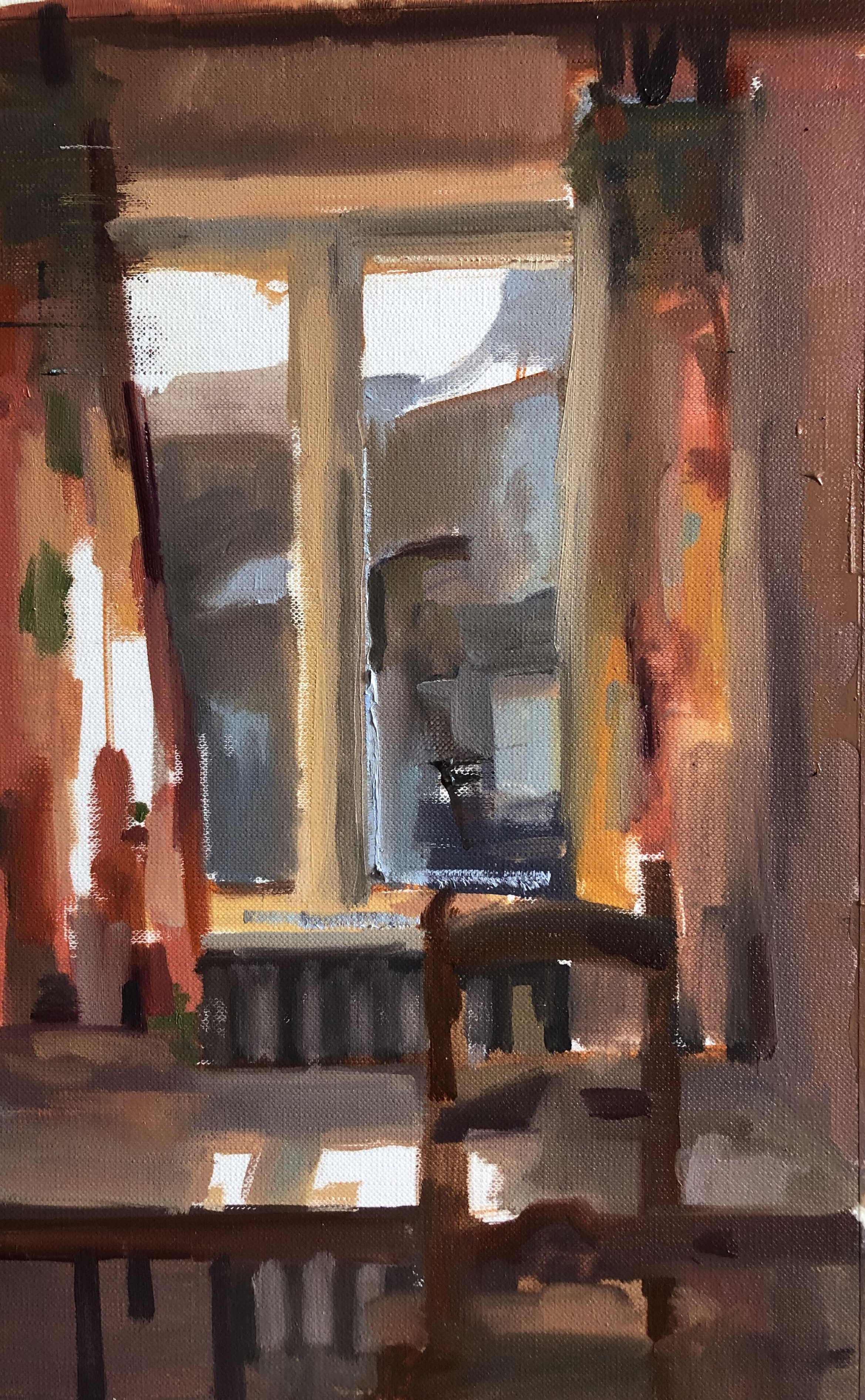 """Palazzo Window"" #1, oil on Fabriano Oil Paper"