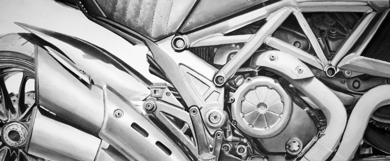 Ducati Diavel painting for Ducati Beverly Hills dealership, ink on watercolor paper, 26x11''